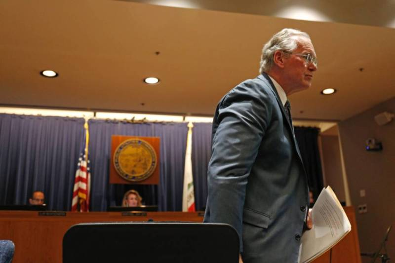 PG&E CEO Bill Johnson addressed the utility's widespread power shutoffs at an emergency meeting of the California Public Utilities Commission on Oct. 18, 2019.