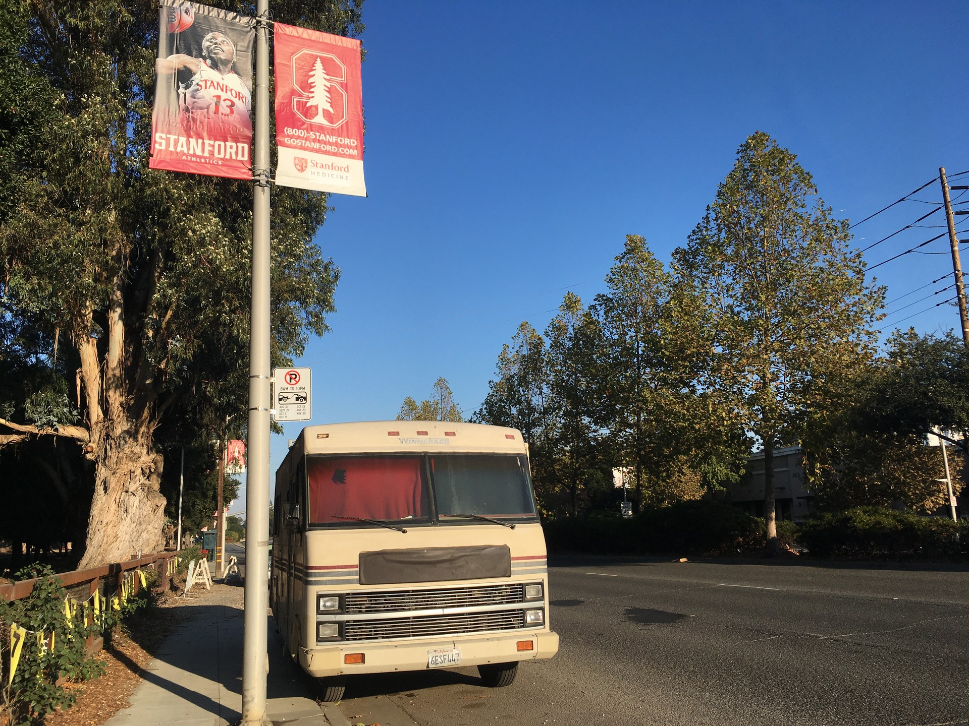 El Camino Real, on the border of the Stanford University campus, has been home for years to an ever shifting collection of RVs where construction workers and local homeless people live — a reflection of the local housing crisis.