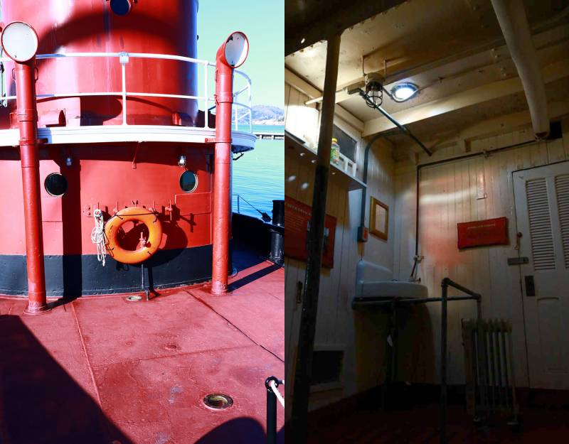 Two deck lights can be seen beneath the life ring on the steam tug Herculese. The lights shine into the crew's fo'c's'le.