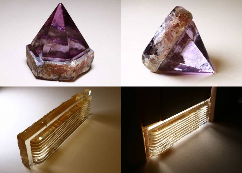 "The purple six-sided pointed prism has a flat bottom that would have been flush with the deck of a ship. The rectangular deck light has a series of ""ribs"" that run the length of the prism."