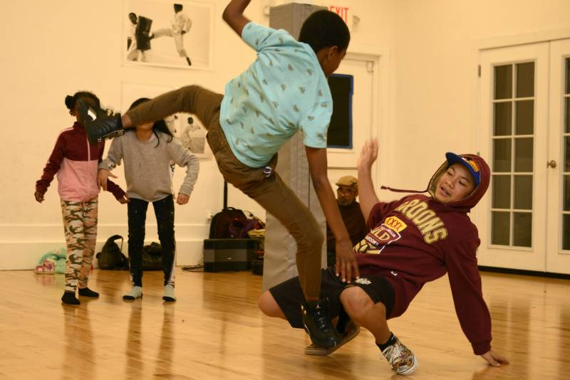 Break dancers rehearse at Sullivan Community Space in Oakland on Dec. 8, 2019.