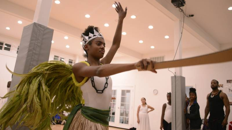 Brazil Clement dances as Ogun during a rehearsal at Sullivan Community Space in Oakland on Dec. 8, 2019.