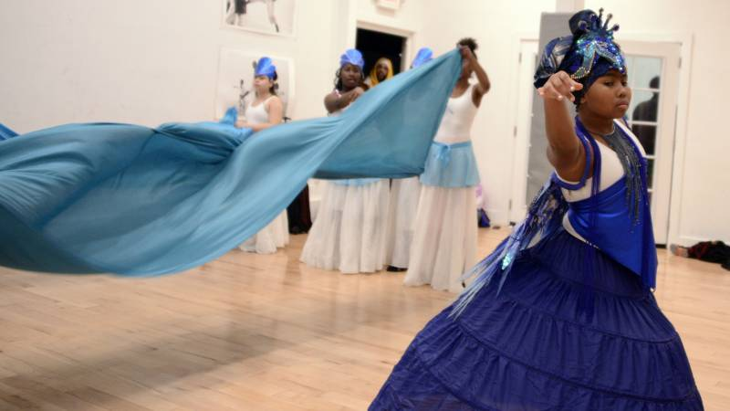 Samara Cole-Mercado dancing as Yemanja during a rehearsal at Sullivan Community Space in Oakland on Dec. 8, 2019.