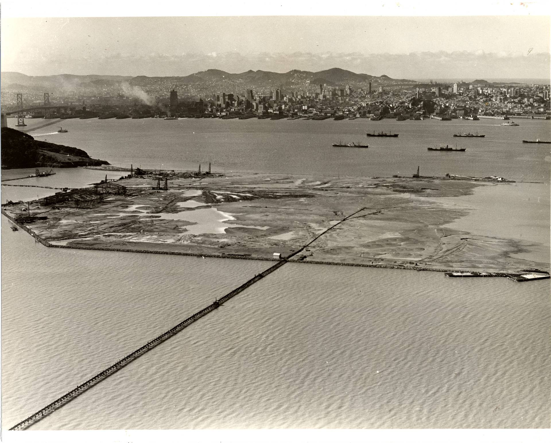 Treasure Island is man-made, engineered with bay mud on a shoal adjacent to naturally occurring Yerba Buena. San Francisco History Center/San Francisco Public Library