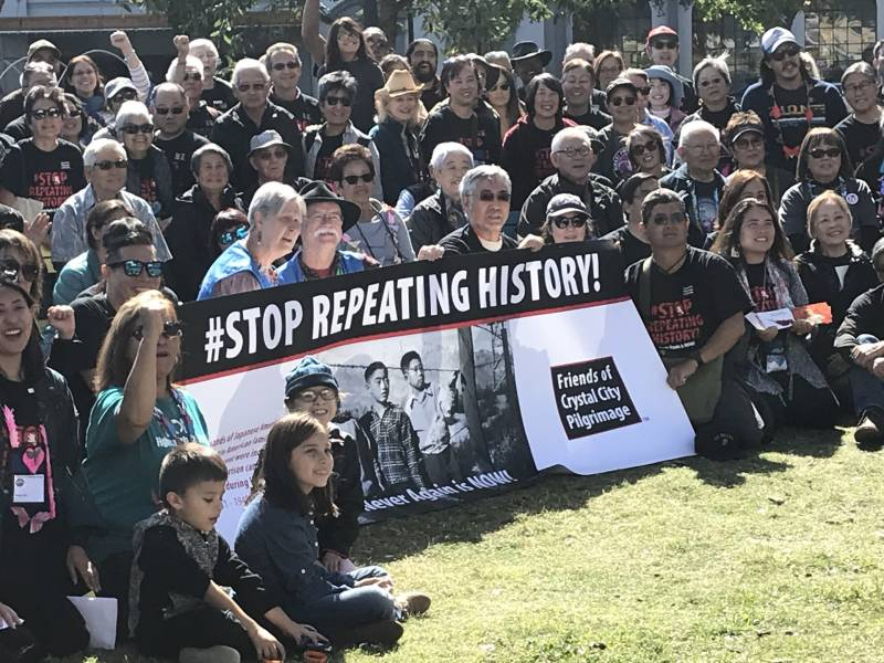 Japanese Latin Americans rallied in San Antonio, Texas, to protest the Trump administration's family detention policies.