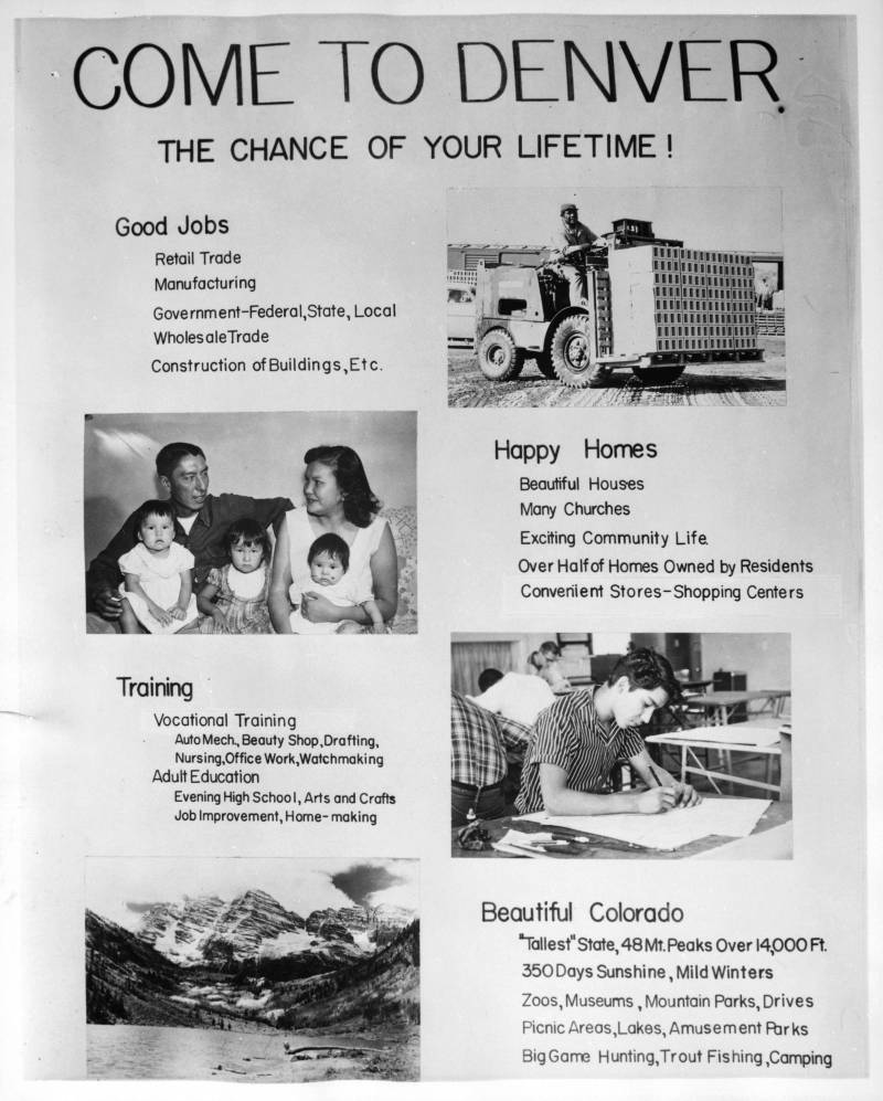 A relocation recruitment poster from the 1950s distributed by the Bureau of Indian Affairs.