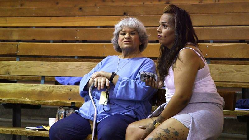 David Bella Birrell (left) and Jarrett Angel Williams, transgender women housed at the California Medical Facility in Vacaville, on June 11, 2019, in the prison gym.