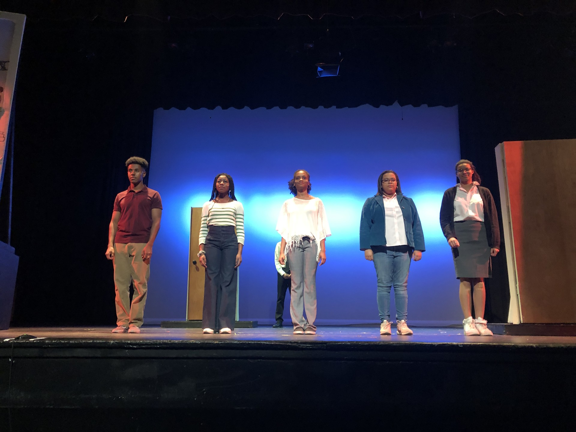 "The lead actors in ""The Apollos"", a new play written, performed and produced by Oakland Technical High School students."