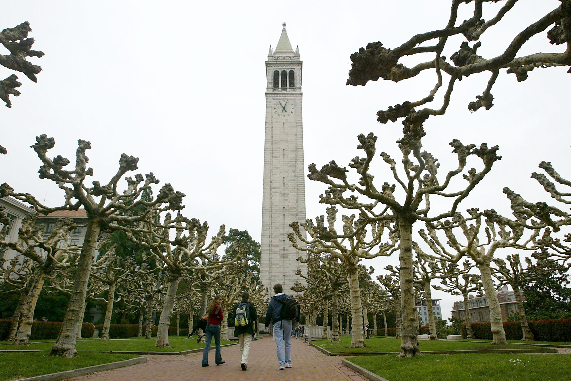 Students walk near Sather Tower on the UC Berkeley campus.