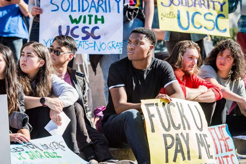 Students rally at Sproul Plaza on UC Berkeley campus in support of striking UC Santa Cruz graduate students and to demand their own cost of living adjustment.