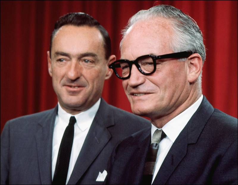 Presidential hopeful Barry Goldwater (right) with his running mate William Miller in 1964.