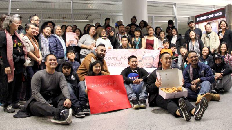 Many of Sok Loeun's family members drove from Fresno to welcome him home at San Francisco International Airport.
