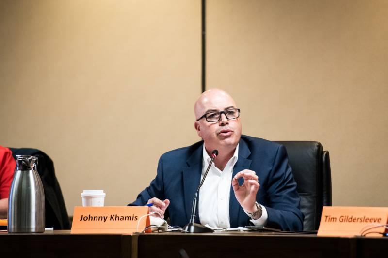 Johnny Khamis speaks during a 15th District State Senate forum at Campbell City Hall on Feb. 19, 2020.