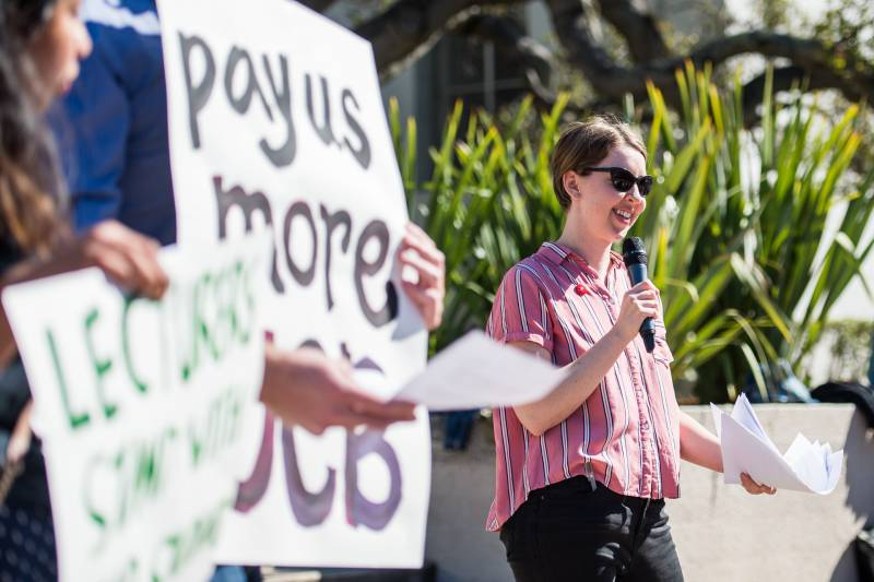 UC Berkeley PhD student Tara Phillips read aloud a demand letter to university administrators during a rally at Sproul Plaza on Feb. 21, 2020.