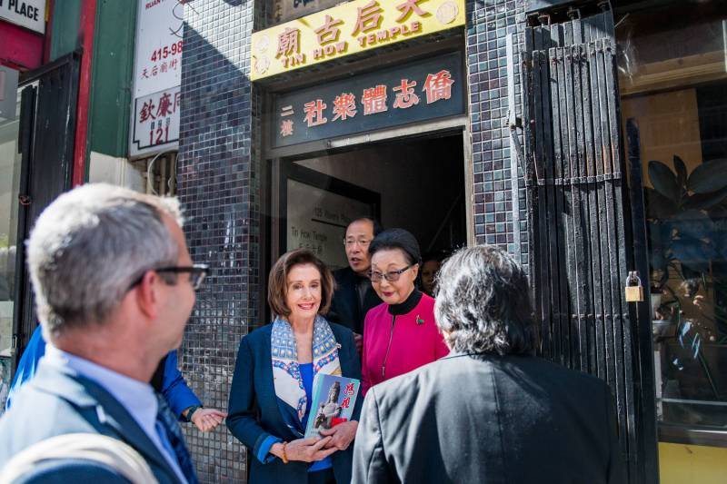 House Speaker Nancy Pelosi exits the Tin How Temple in Chinatown in San Francisco on Monday, Feb. 24, 2020.