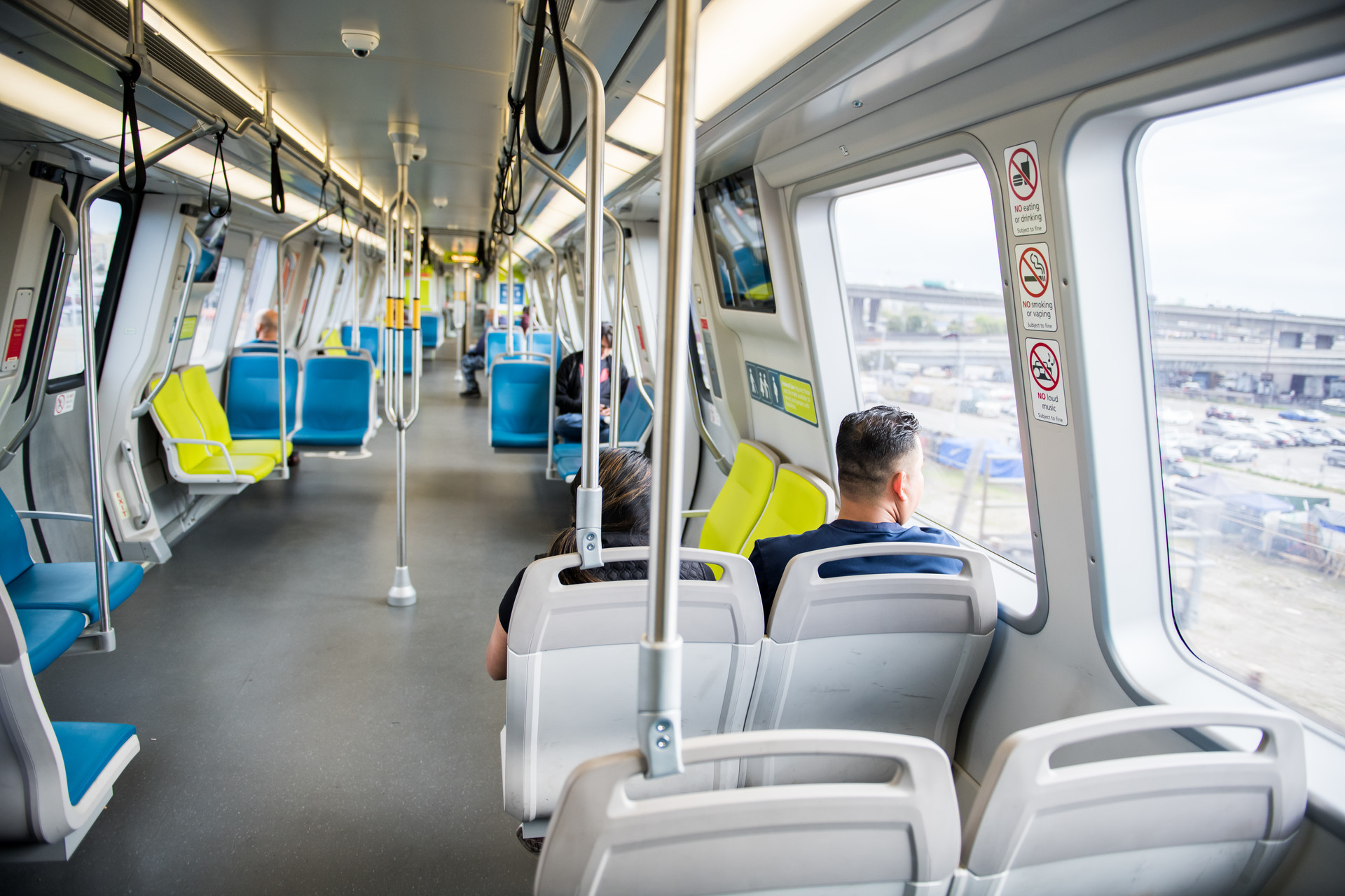 A mostly empty BART train travels from Oakland to San Francisco on Tuesday, Mar. 10, 2020.