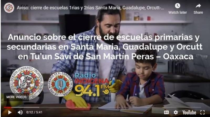 Un mensaje en mixteco publicado por Radio Indígena anuncia el cierre de escuelas en el condado de Santa Bárbara.