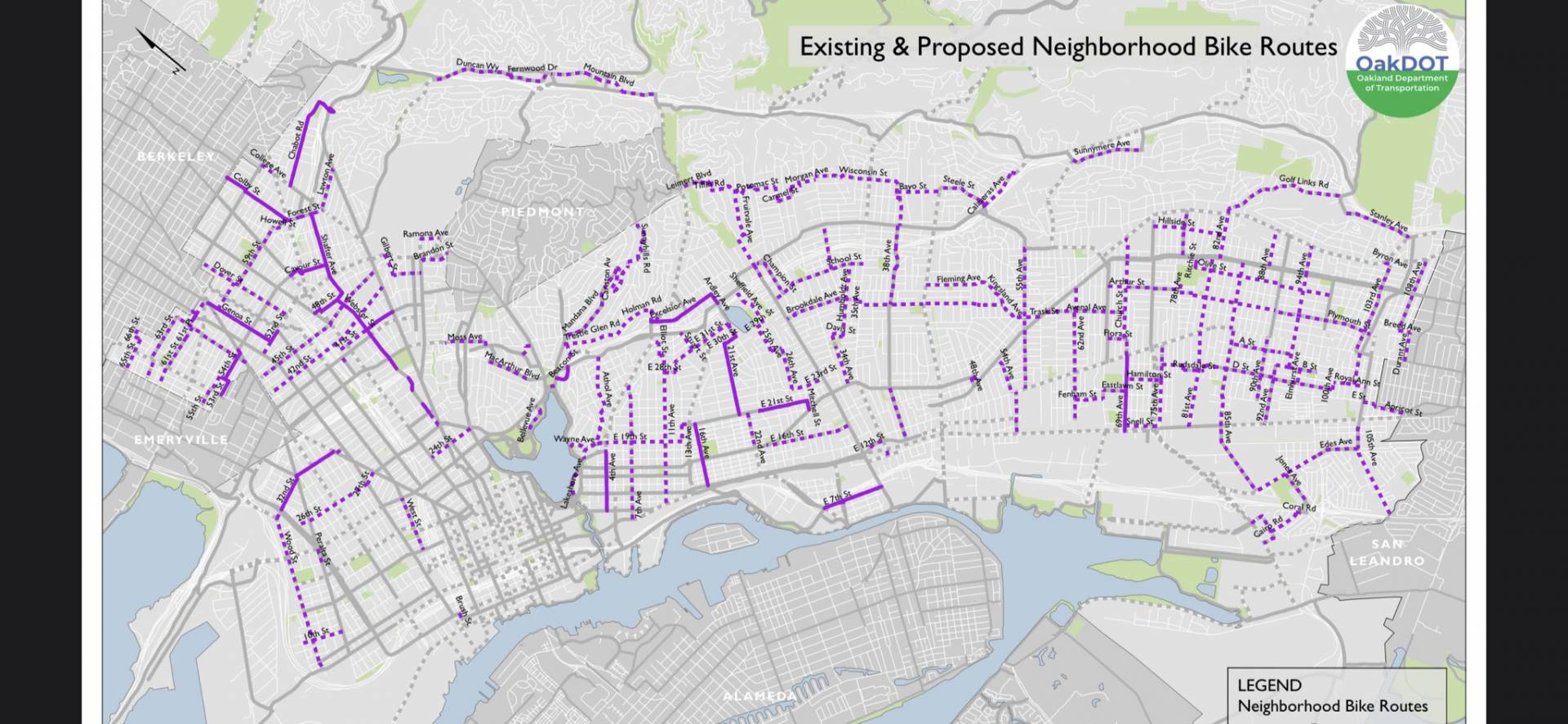 A map of streets that Oakland plans to close to cars while residents shelter in place. The first four street closures will begin on Saturday, April 11. Existing neighborhood bike routes and bike ways are represented by solid purple line; dotted lines represent proposed bike routes.