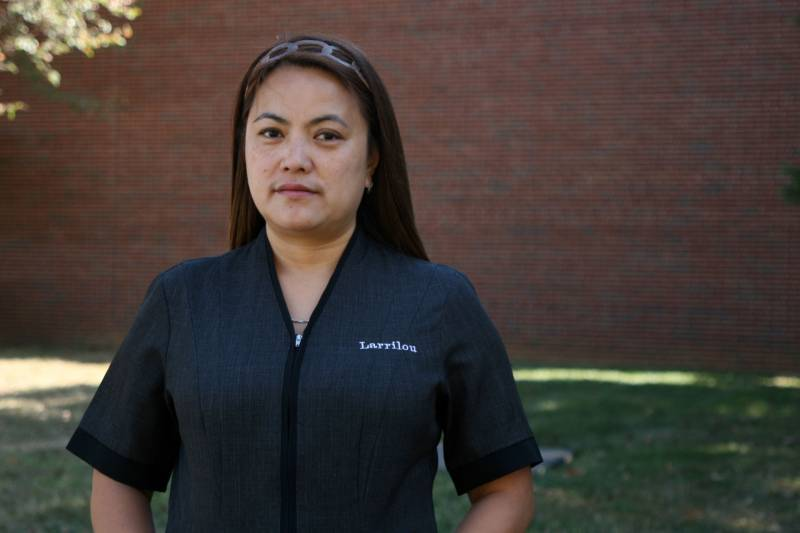 Larrilou Carumba has been a housekeeper at the Marriott Marquis for eight years, but has been out of work for weeks due to the coronavirus pandemic.