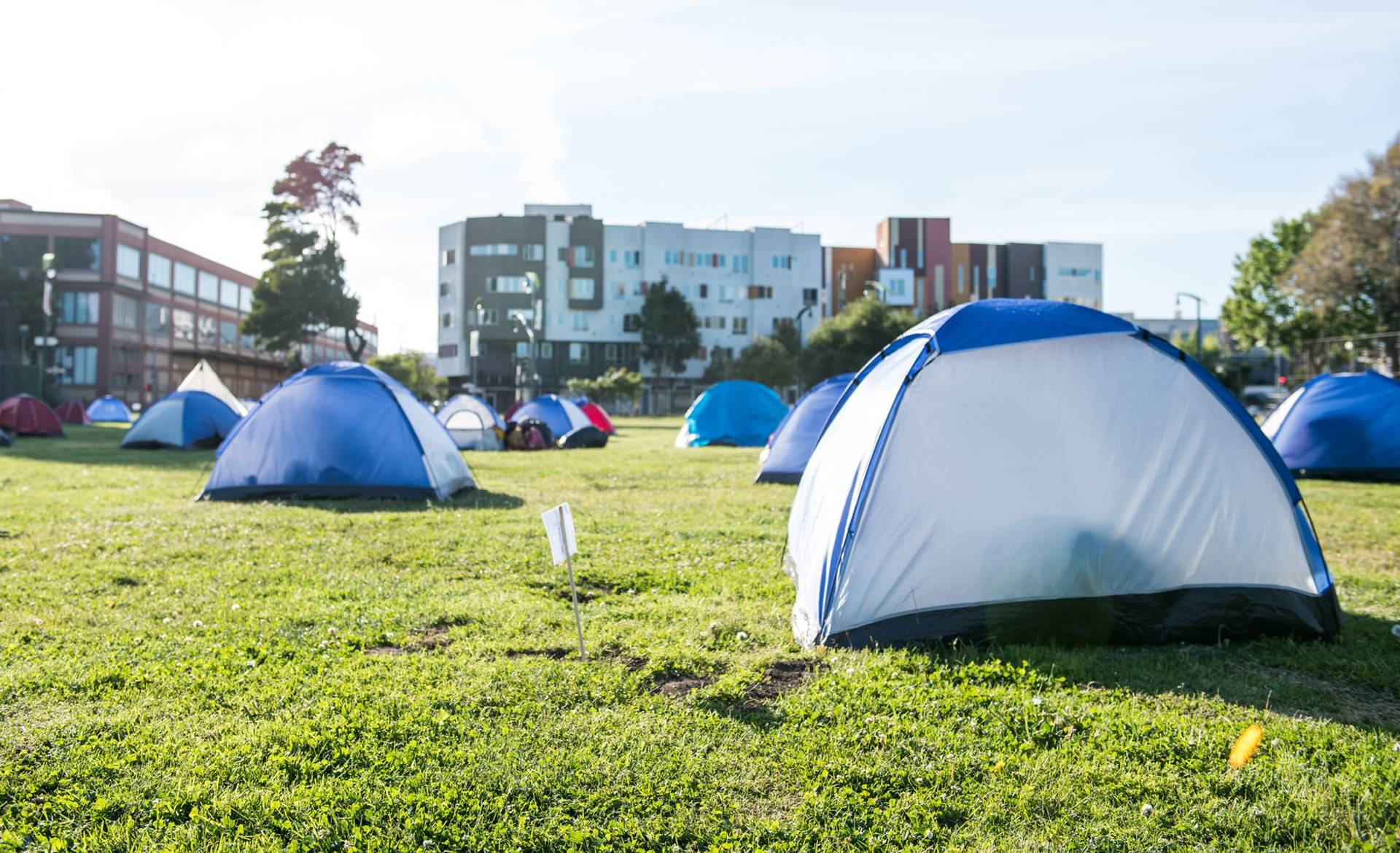 Tents are spaced for social distancing at Bay View Park K.C. Jones Playground on May 5, 2020. Beth LaBerge/KQED