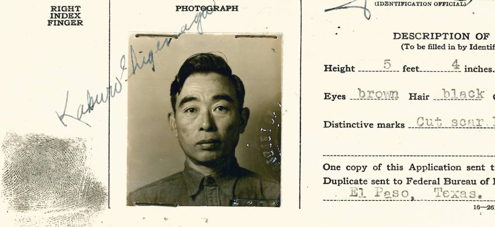 Kakuro Shigenaga, aged 47, photographed and fingerprinted in an identification card. He was among the men who spent time on Angel Island before being sent to a number of inland internment camps.  Courtesy of the Shigenaga family