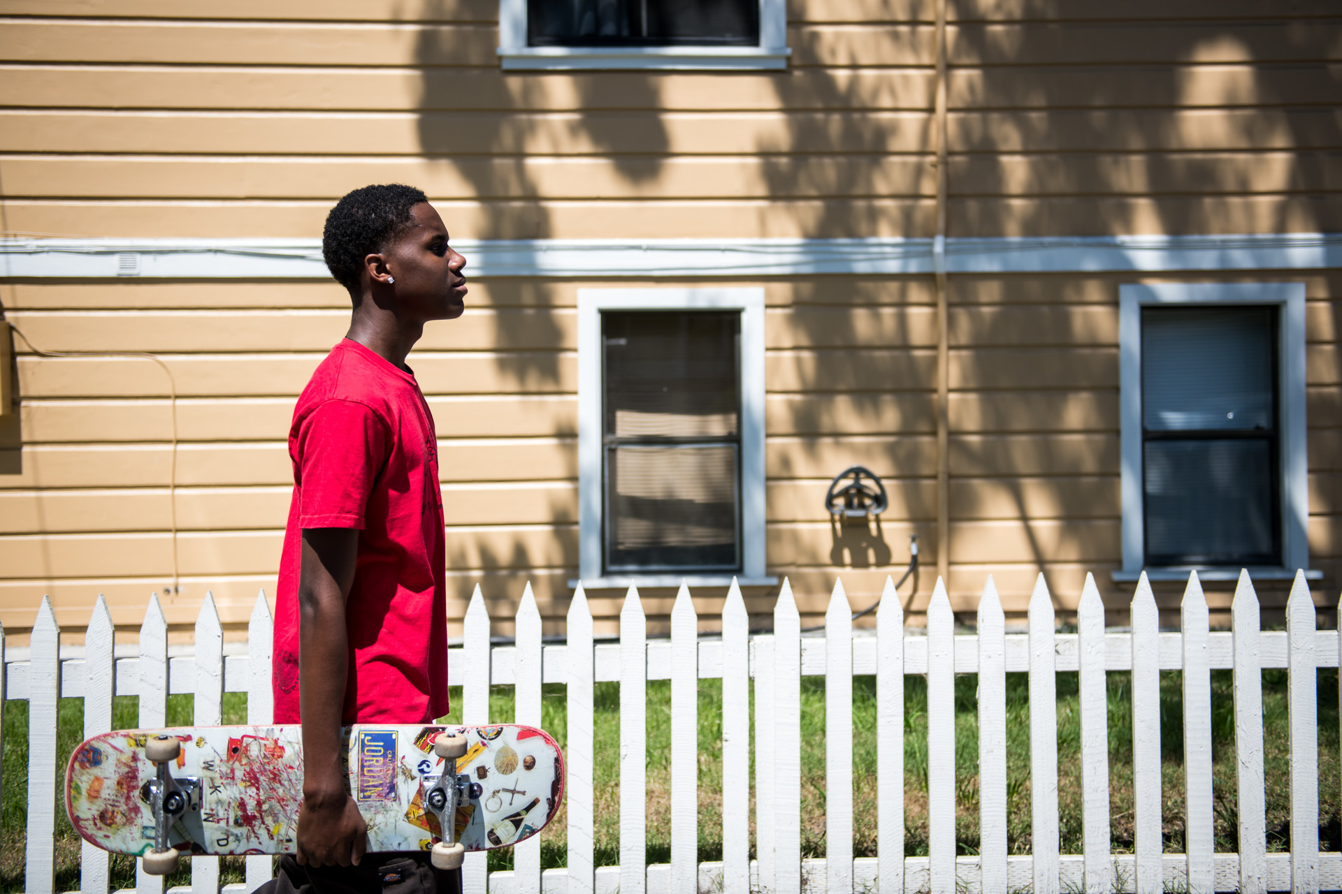 Qadir Scott, a senior at Oakland Tech, in Alameda on April 6, 2020.