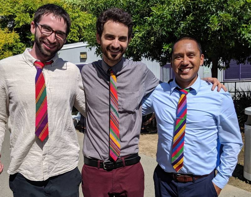 Rudsdale English teacher Abraham Falk-Rood, math teacher Nick Johnson and history teacher Steven Moreno wearing their ties from a trip to Guatemala last summer.