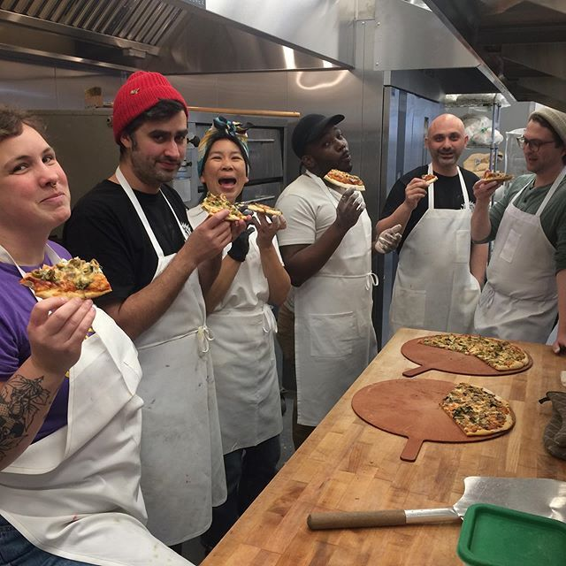Employee-owners at Arizmendi in Emeryville enjoy the fruits of their labor.