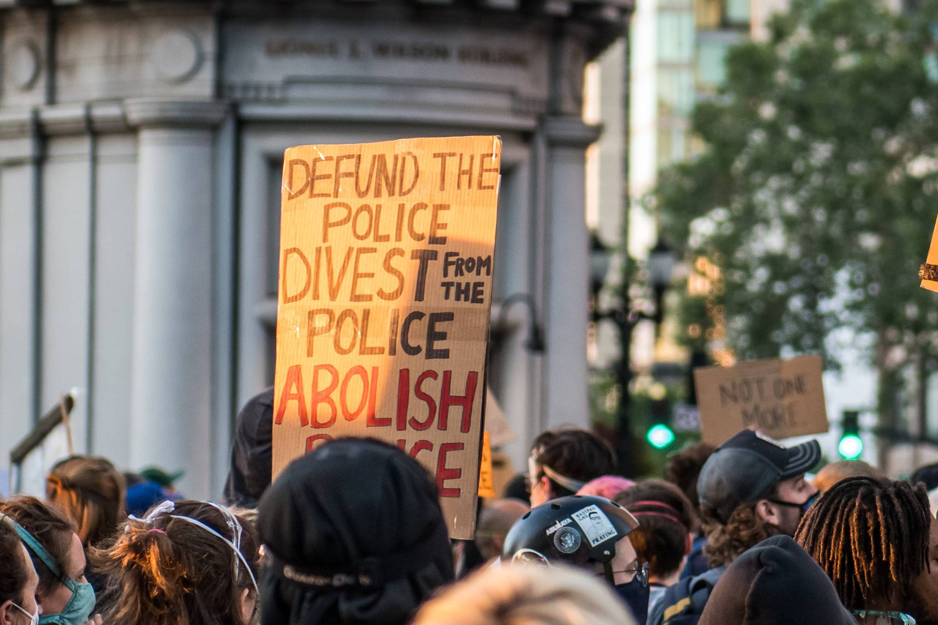 Demonstrators gather in Downtown Oakland to listen to speakers during a protest against police violence on June 3, 2020. Beth LaBerge/KQED