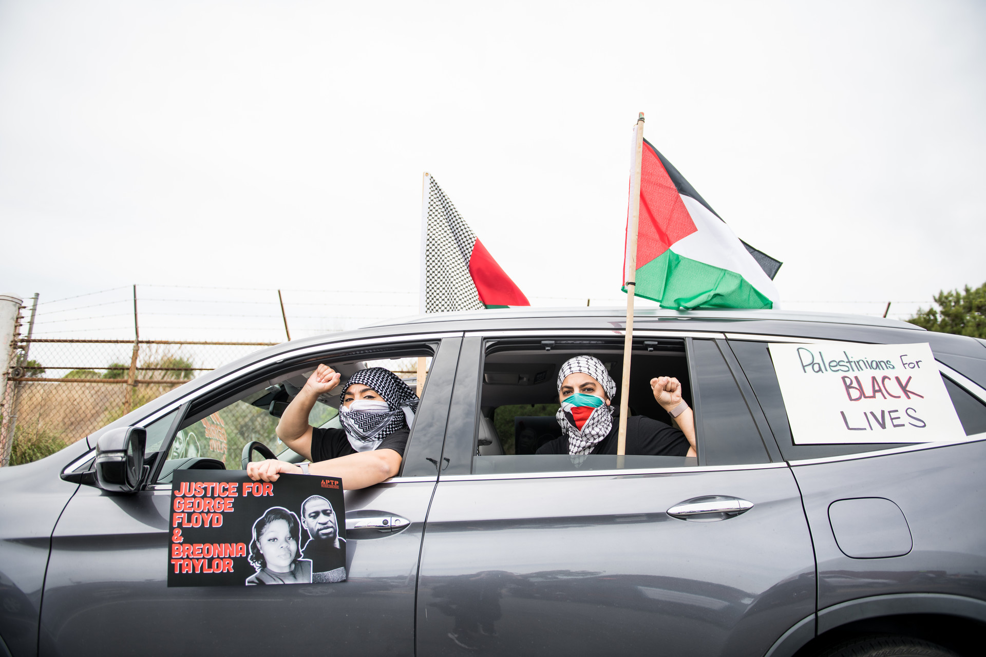 Members of the Palestinian Youth Movement joined the thousands of vehicles that lined up for miles from the Port of Oakland to Lake Merritt on Sunday afternoon.