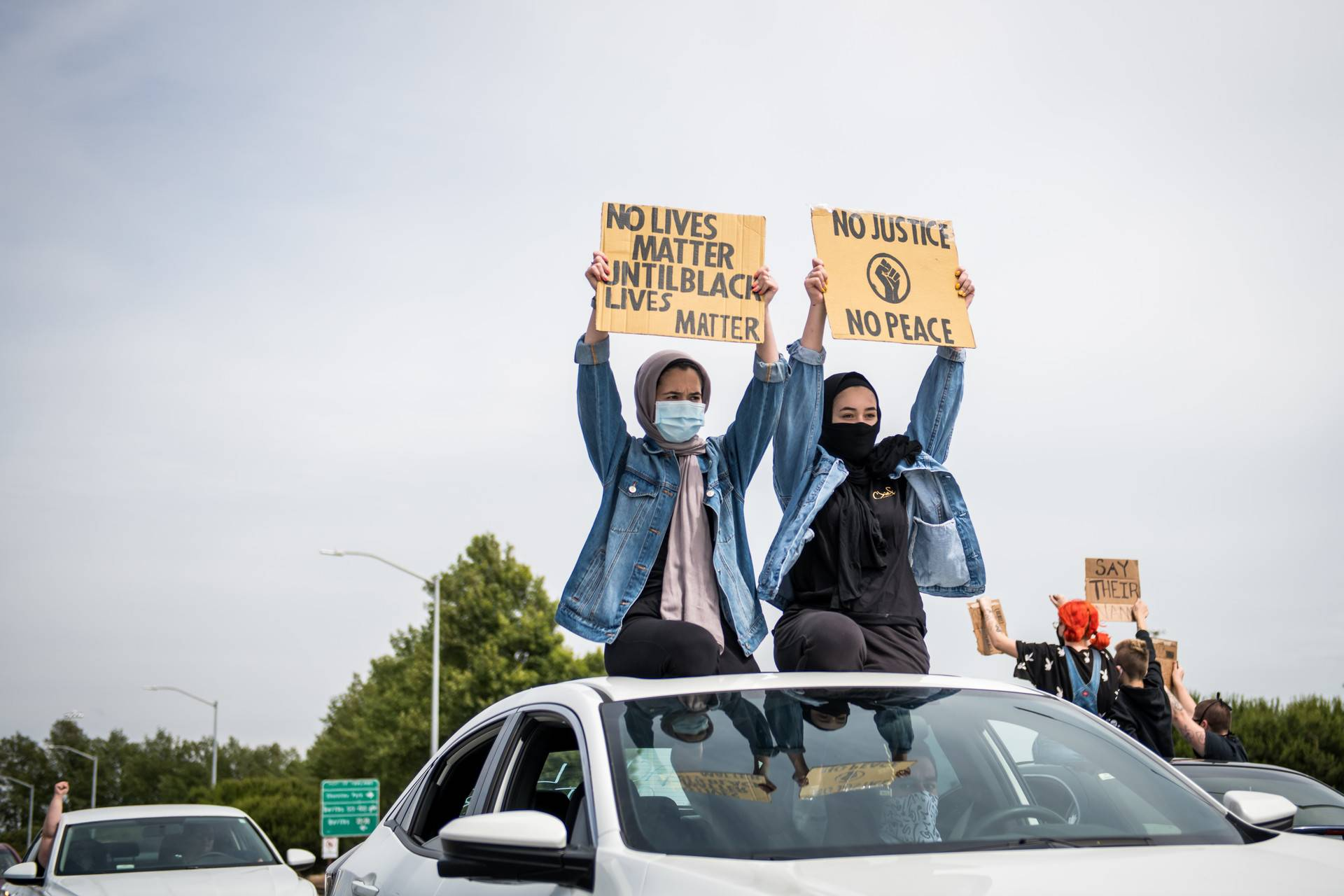 Thousands of vehicles lined up at the Port of Oakland before departing to Lake Merritt on Sunday May 31, 2020 to take part in a caravan protesting the killing of George Floyd and other Black people at the hands of the police. Beth LaBerge/KQED