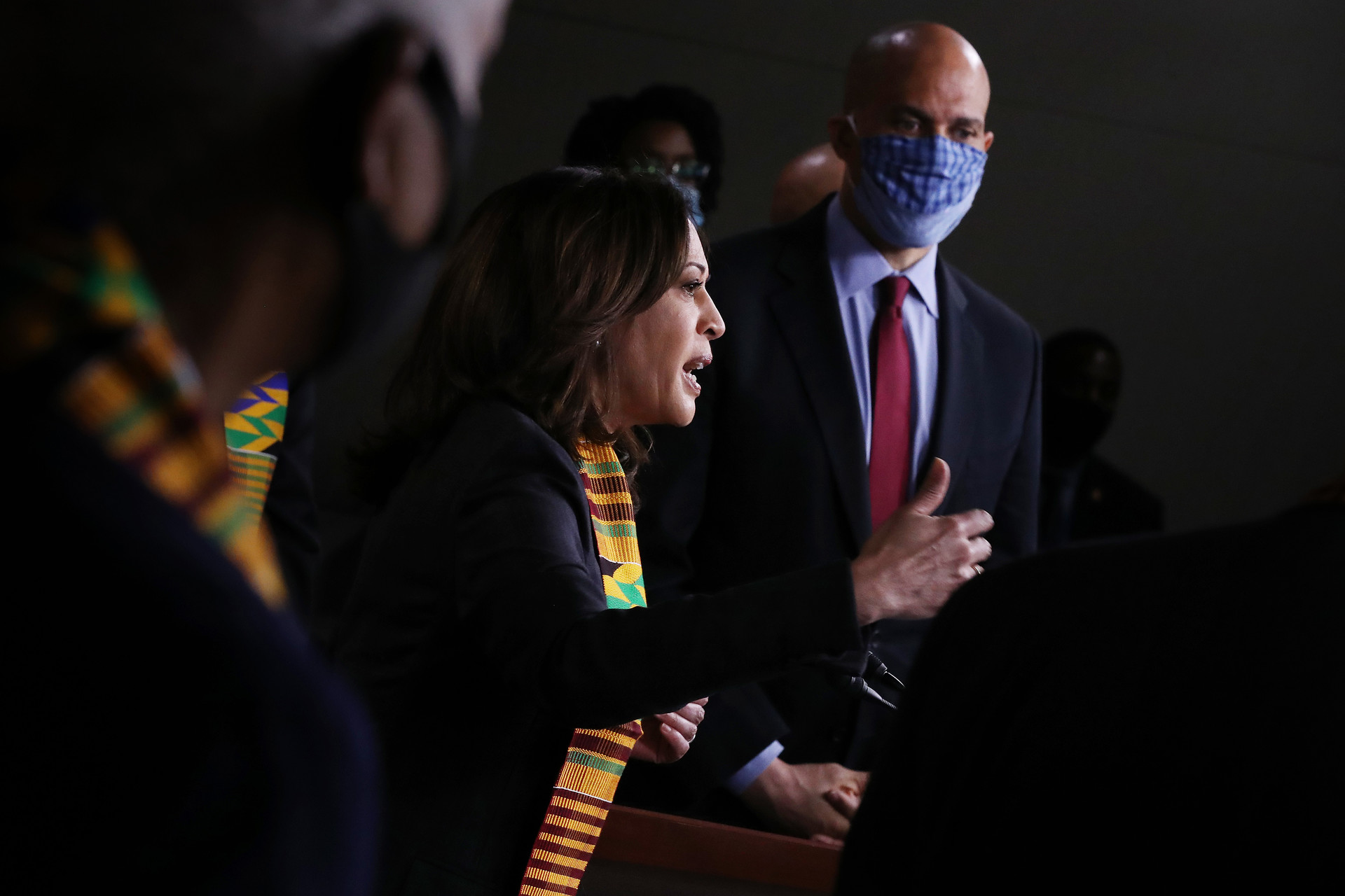 Sen. Kamala Harris (D-CA) (L) and Sen. Cory Booker (D-NJ) join fellow Democrats from the House and Senate to introduce new legislation to end excessive use of force by police and make it easier to identify, track, and prosecute police misconduct at the U.S. Capitol June 08, 2020.