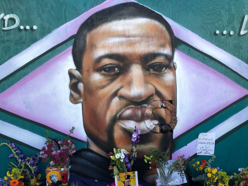 A mural in downtown Oakland depicting George Floyd, an unarmed man killed by a Minneapolis police officer who knelt on his neck for nearly 9 minutes.