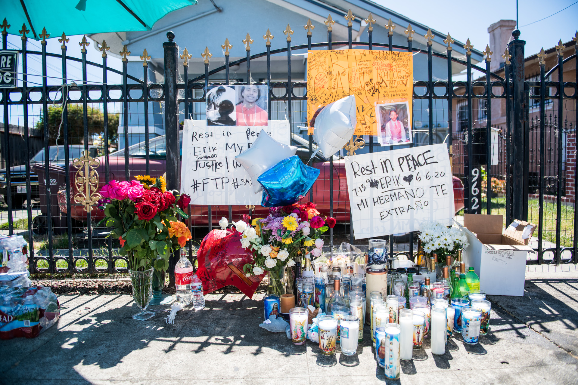 Mourners contributed to a memorial for Erik Salgado in East Oakland on June 8. Salgado was shot and killed by California Highway Patrol officers on Saturday June 6.