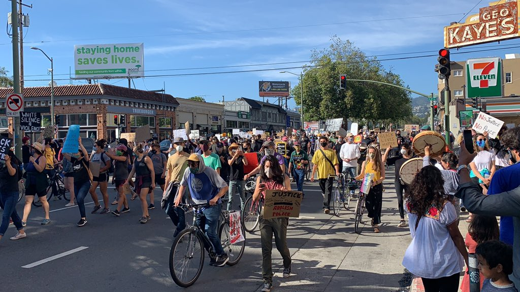 A five-block-long line of marchers moved down Broadway Monday afternoon from Oakland Technical High School toward City Hall.