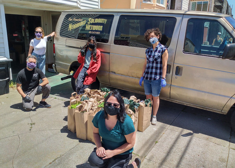 SF Neighbors Solidarity Network makes an effort to deliver healthy and organic food, along with other resources such as face masks and hand sanitizer to the elderly and unhoused people in San Francisco.