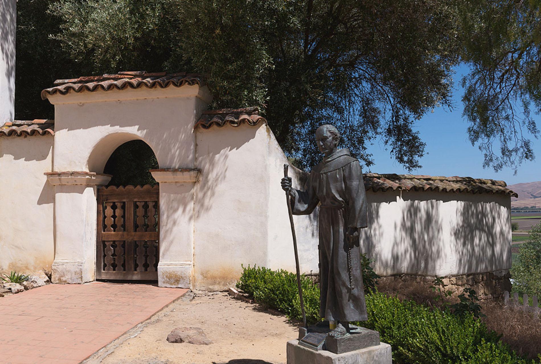 A statue of Father Junípero Serra at Old Mission San Juan Bautista in San Juan Bautista, San Benito County, California.