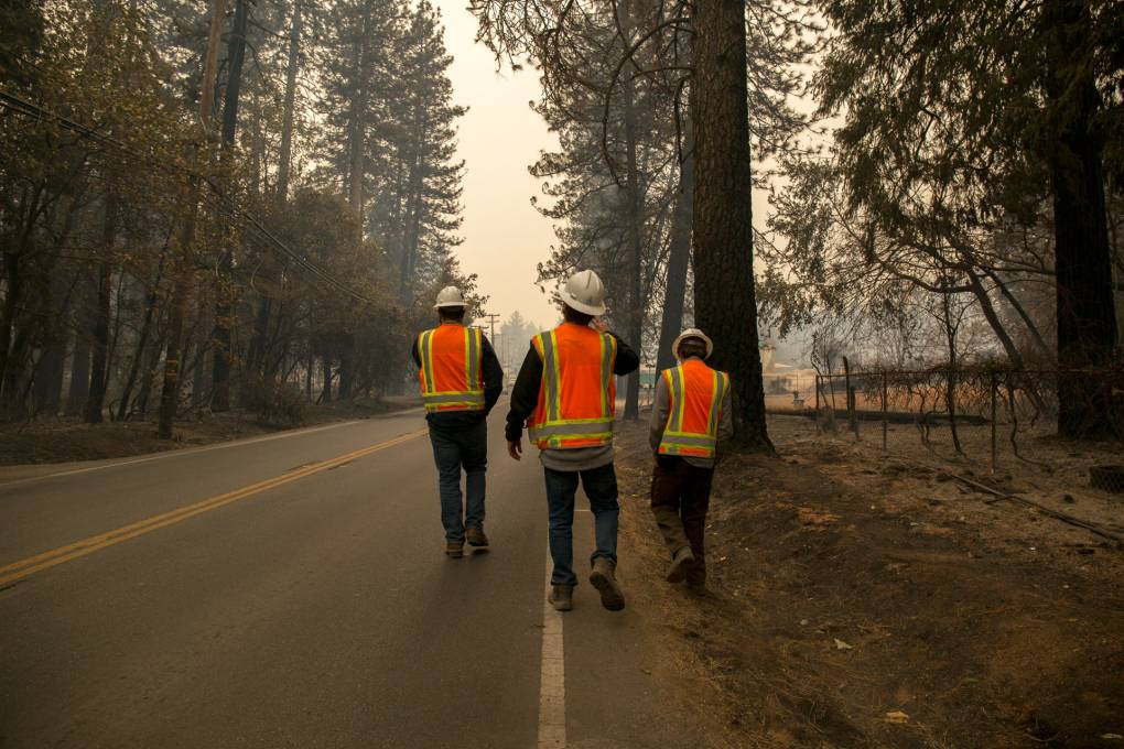 PG&E subcontractors assess vegetation at risk for catching fire near Paradise, Calif. on Nov. 13, 2018, five days after a PG&E transmission line sparked the Camp Fire, the deadliest and most destructive wildfire in modern California history. The blaze leveled the town of Paradise and killed 85 people. Anne Wernikoff/KQED
