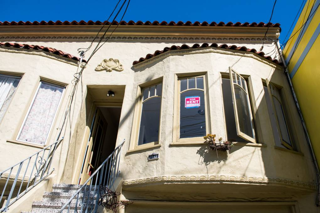 A 'For Rent' sign on a house in the Mission District of San Francisco on Tuesday, March 31, 2020.