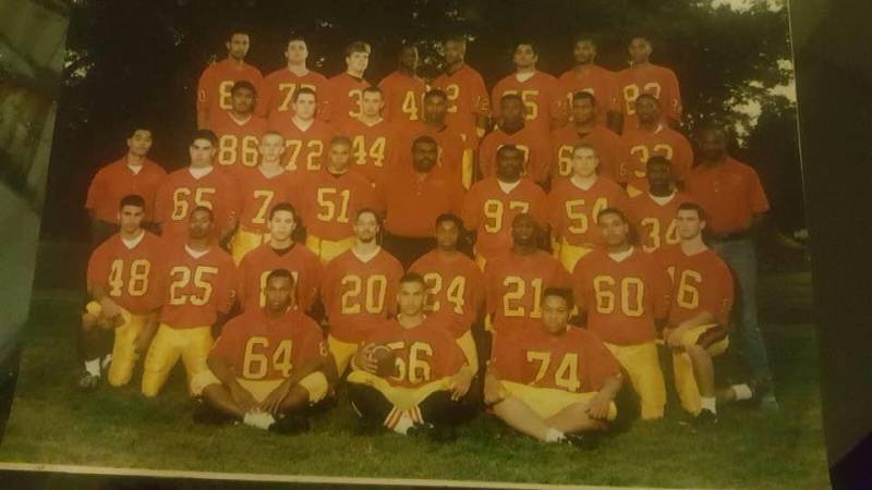 At Berkeley High School, Jinho Ferreira (wearing a number 25 jersey in the second row) said he focused on football. That's where he met his friend, Jihad Akbar (in a number 40 jersey in the top row).