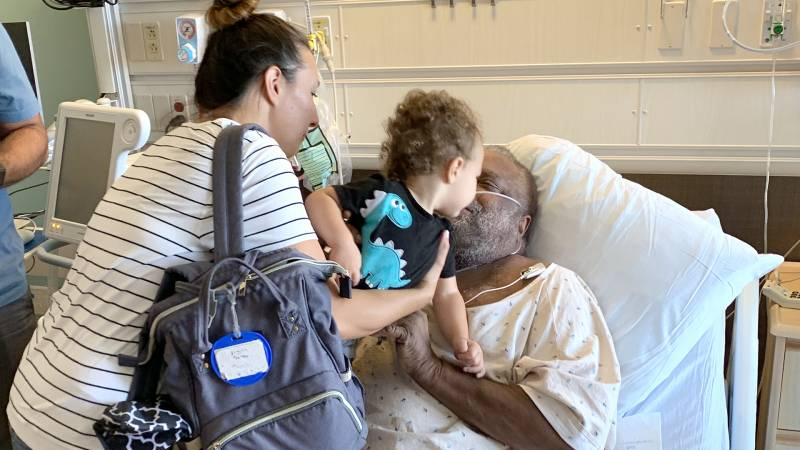 Michael Thomas' family visits him in an Ohio hospital.