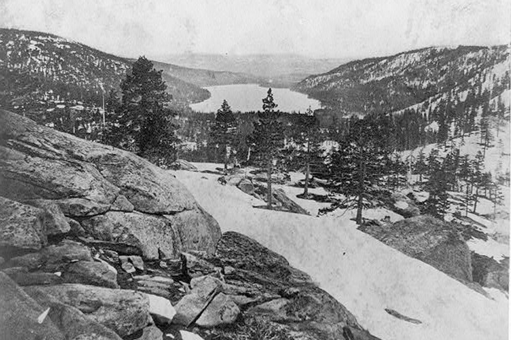 Donner Lake from the summit, photographed in 1866 Lawrence & Houseworth Library of Congress