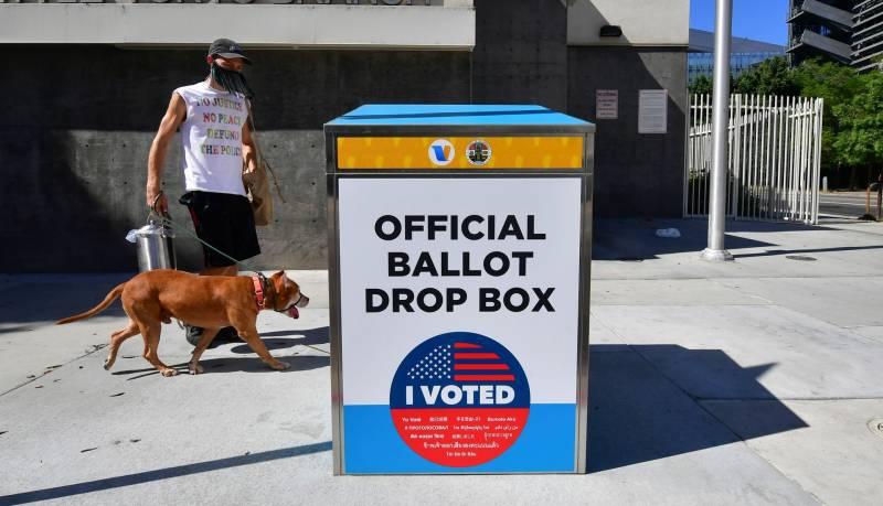 An official ballot drop box