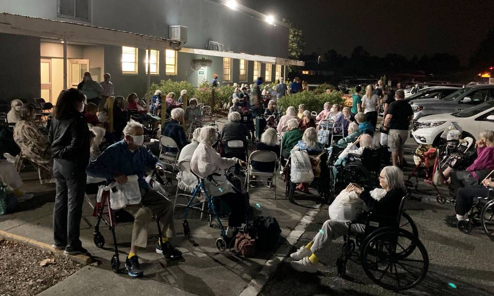 About 200 elderly wildfire evacuees wait at 3:00 a.m. outside the Veterans Memorial Building in Santa Rosa before being turned away from the temporary shelter on Sept. 28, 2020. Gabe Meline/KQED