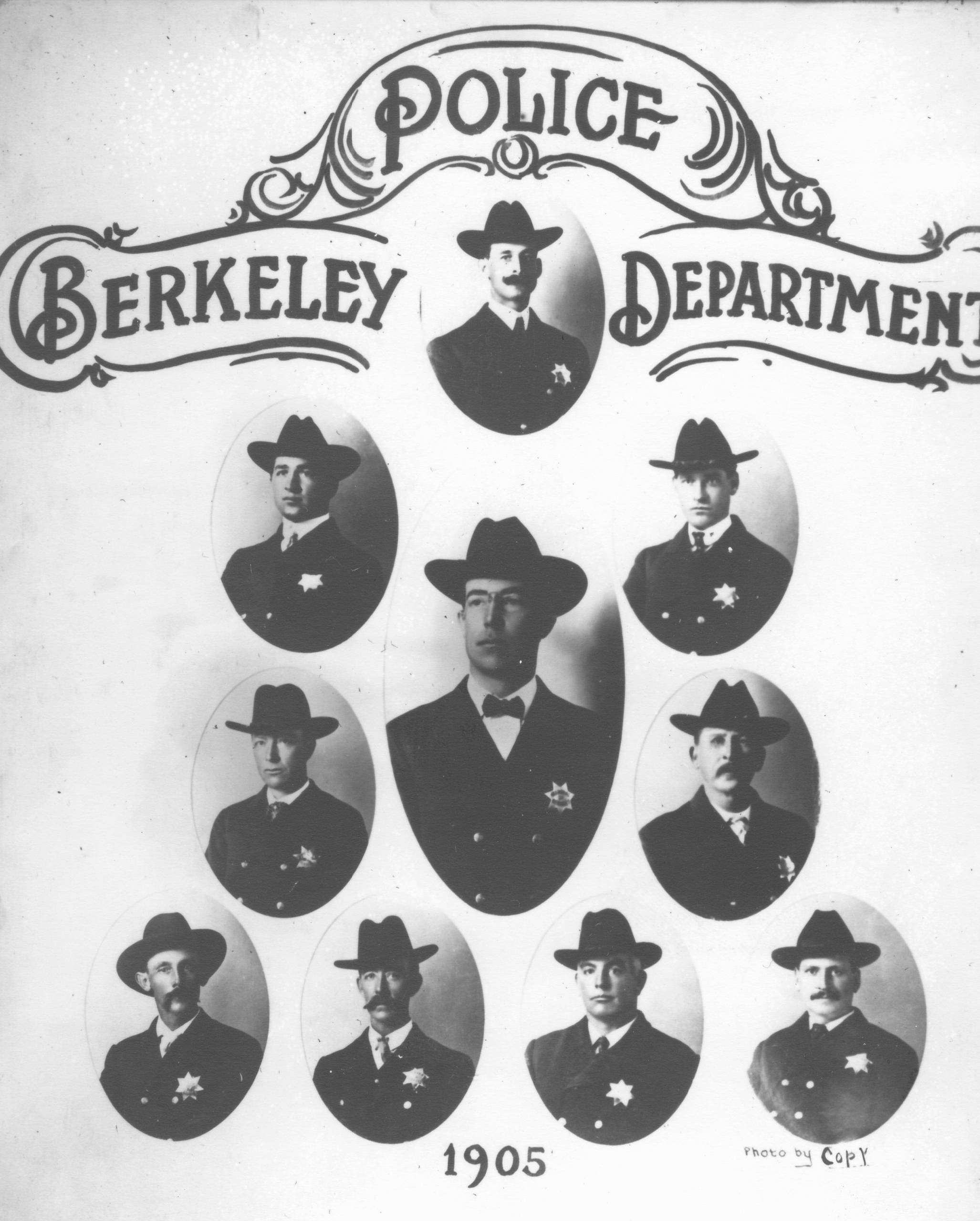 Photos of the 10 men who made up the Berkeley Police Department in 1905 when August Vollmer was elected town marshal.