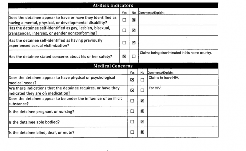 "U.S. Customs and Border Patrol ""Detainee Assessment"" form dated 8/9/2017. Although Luna Guzmán clearly told officials she feared homophobic violence, they did not check the box noting that she identified as LGBTQ."