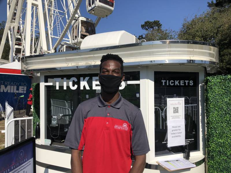 SkyStar Observation Wheel greeter David Saffold says most of the people riding the new Ferris wheel-style attraction in Golden Gate Park are Bay Area locals.