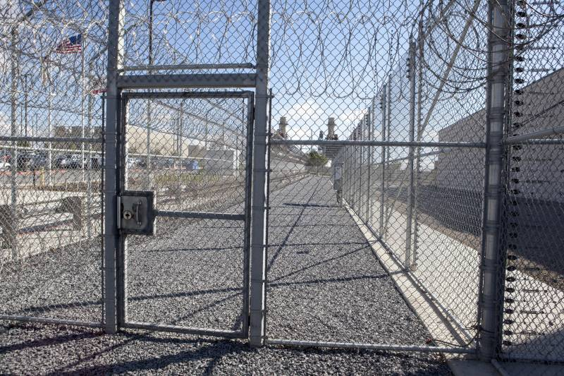 Layers of security fencing at Otay Mesa immigration Detention Facility just east of San Diego, where Luna Guzmán was held for eight months while waiting to present her asylum claim.