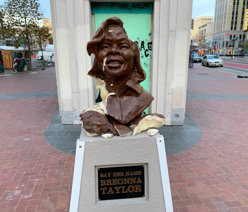 A vandalized bust of Breonna Taylor in downtown Oakland.
