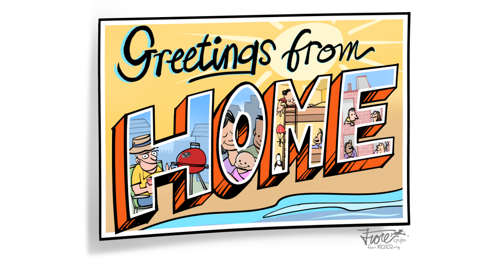 """Year in Cartoons featured image """"Greetings from Home"""" by Mark Fiore"""
